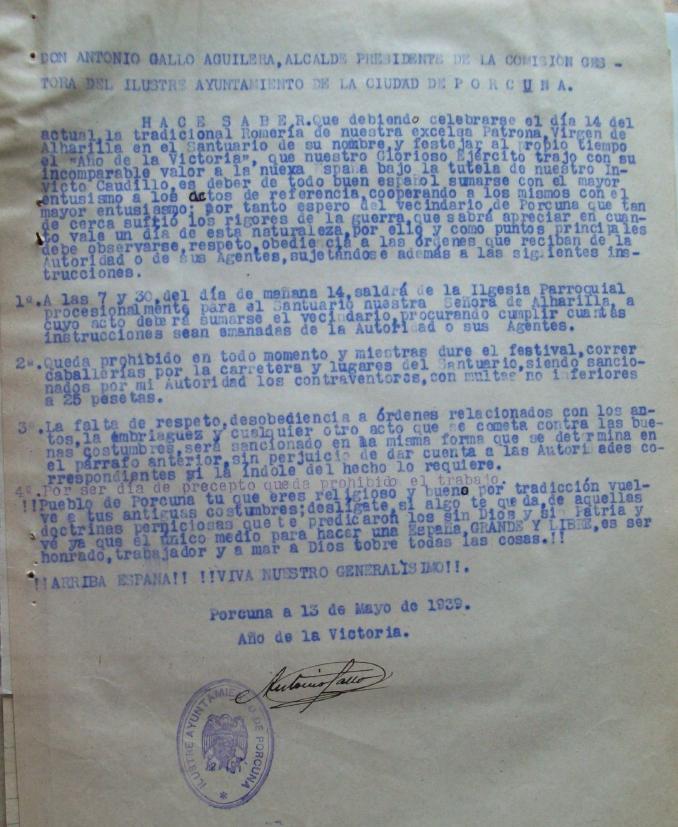 Romería de Alharilla, mayo 1939