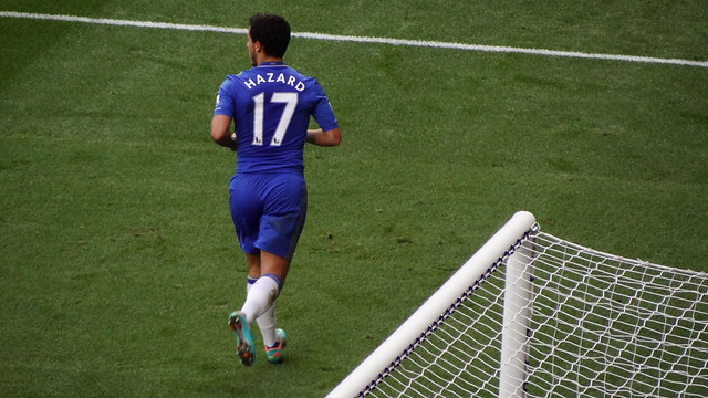 Eden Hazard jogs over to the corner