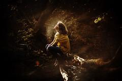 [フリー画像素材] 人物, 女性, 女性 - 座る, 人物 - 森林, 人物 - 横顔・横を向く ID:201211132200