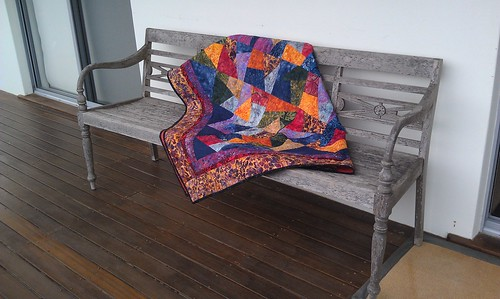 My quilt on a bench