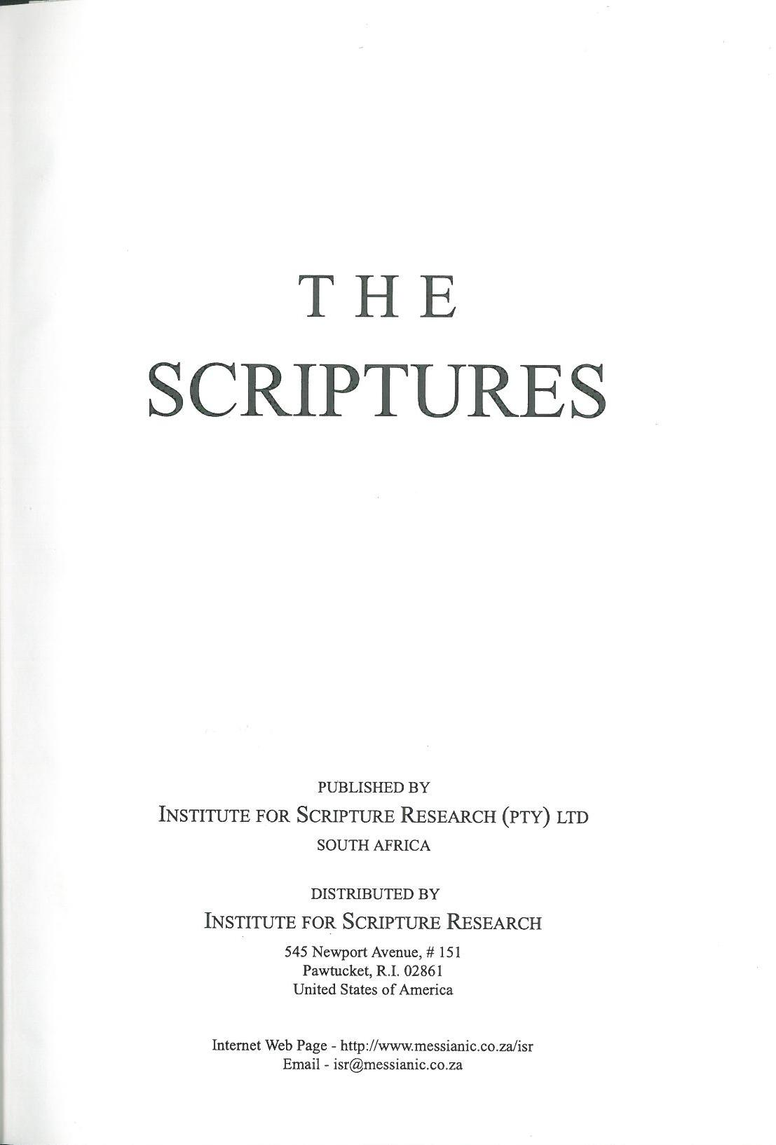 institute for scripture research internet bible catalog