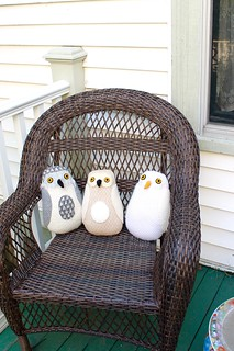 snowy owls on the porch