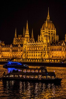 Hungarian Parliament Budapest Hungary at night