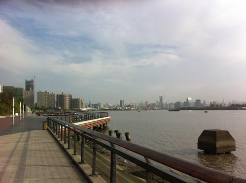Running along the Huangpu River in Shanghai