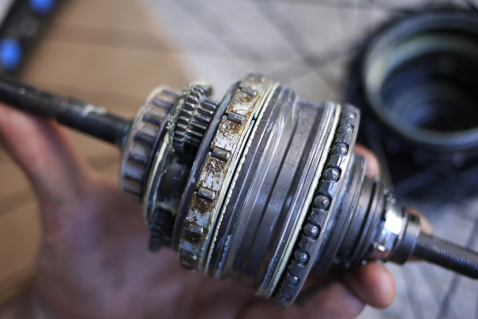 Shimano Alfine 8 Speed Internal Gear Hub (IGH) insides after 1 year commuting (shows minor water damage)