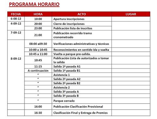 Horario III Rallysprint Lorca