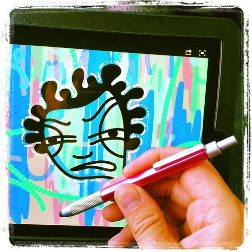 the hand stylus and ipad doodle