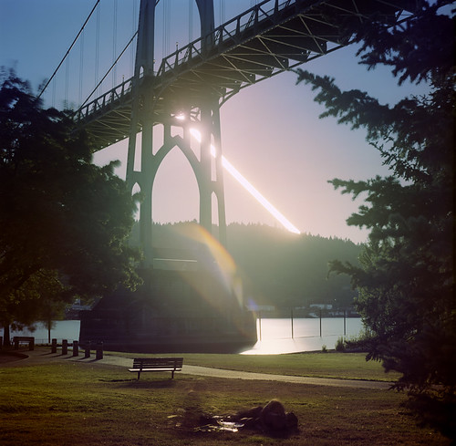 bridge sunset selfportrait film oregon square portland hasselblad pdx sjb stjohnsbridge cathedralpark picnicinthepark suntrail hasselblad500c bluemooncamera youfigureouttherest