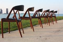 Killer Kai Kristiansen Danish Mid Century Modern Sculptural Teak Dining Chairs (Denmark, 1950's)