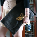 black straw clutch from tag sale in Old Brookville