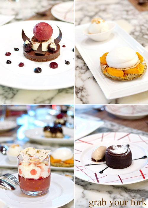 black forest, clafoutis, peach melba, chocolate fondant desserts at daniel boulud db bistro moderne at marina bay sands singapore