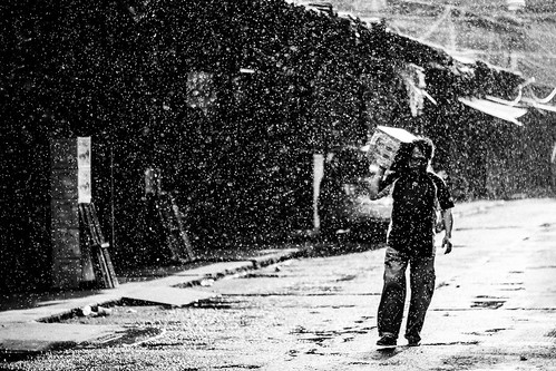 Working in the Rain (B & W)