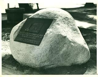 Plaque dedicated in 1937 to mark original site of Ayer College