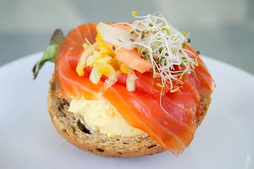 Salmon and egg sandwich