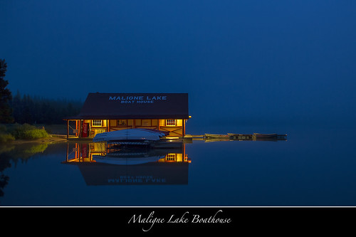 """In the Still of the Night"" Maligne Lake Boathouse - Jasper"