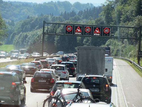 Stau = traffic jam
