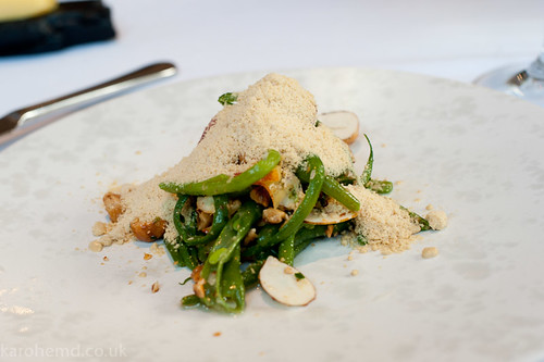 The Ledbury - Green bean, nectarine, hazelnut salad