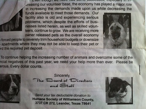 Humane Society of Williamson County newsletter