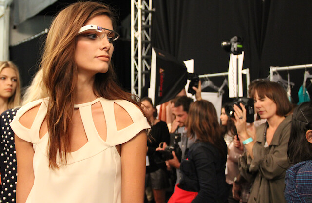 7b34934d56732 A DVF model wearing Google Glass backstage at DVF's show in Lincoln Center,  New York.