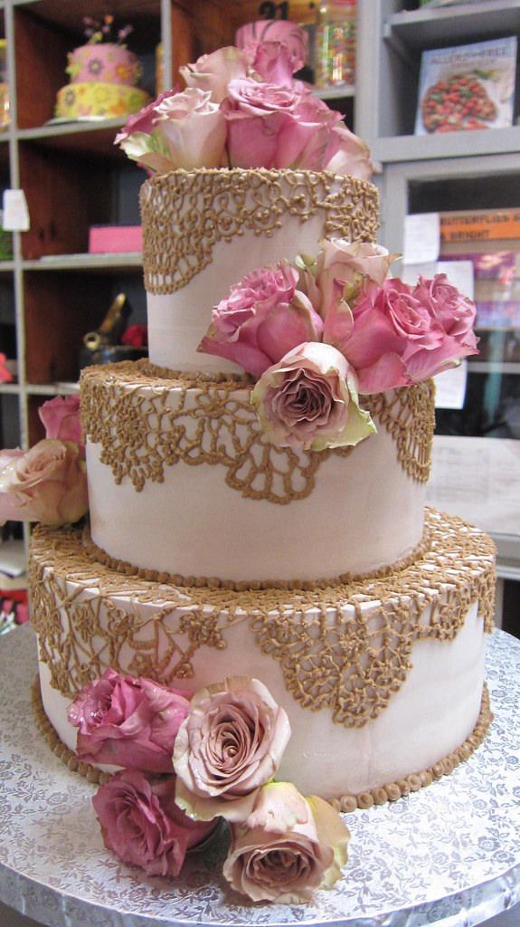 3 Tier Wicked Chocolate Wedding Cake Iced In Caffe Latte Ganache With Piped