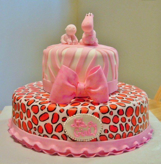 pink animal print girl baby shower cake flickr photo sharing