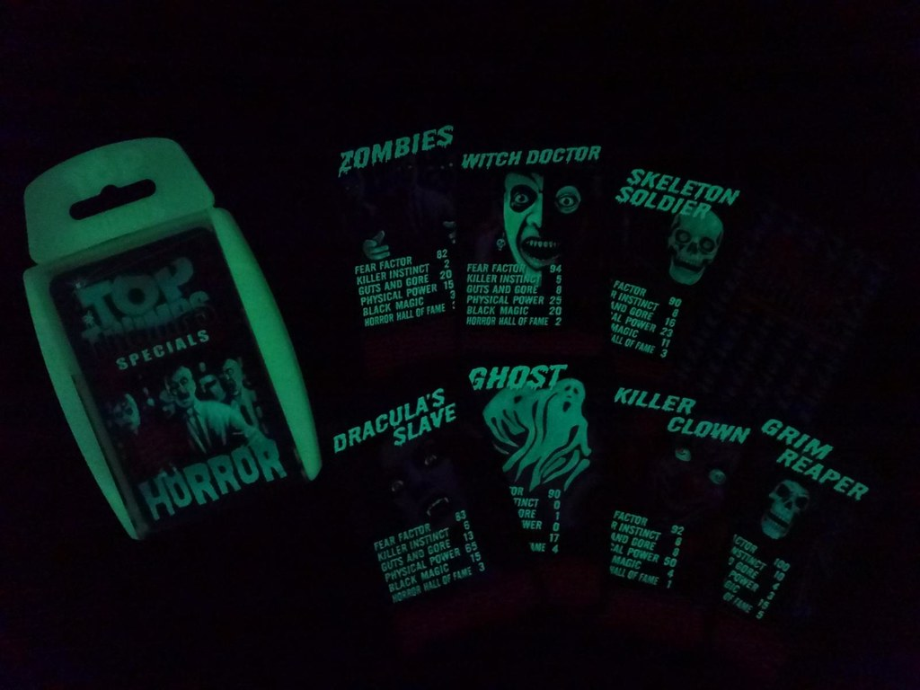 Top Trumps Horror glow in the dark card game