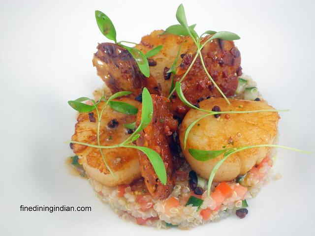 pan seared Scallop,orange and almond tuile, curry dressing, quinoa salad