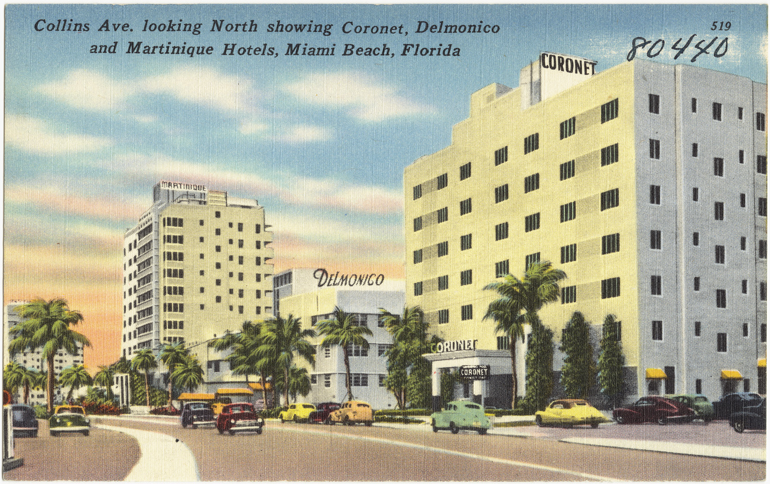 collins ave. looking north showing coronet, delmonico, and