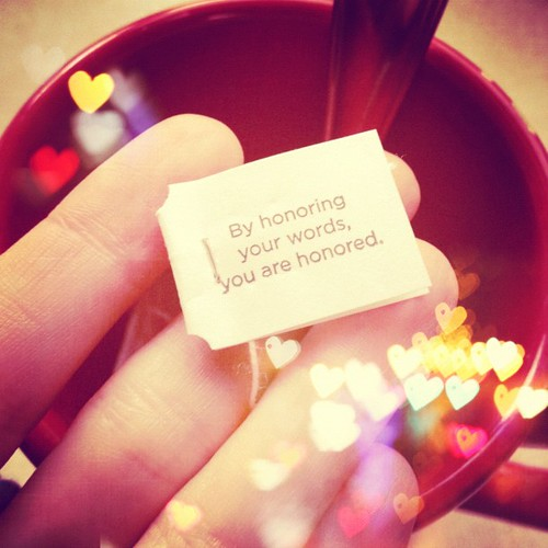 Yogi tea reminder for the day: Meet my own needs for honor.