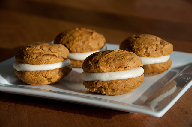 Pumpkin Spiced Whoopie Pies with Maple Mascarpone Filling from Fact Woman and Buttercream Lane blogs