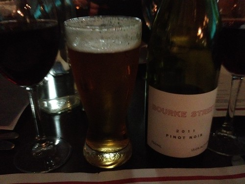 Carlton Draught beer and Bourke Street pinot noir