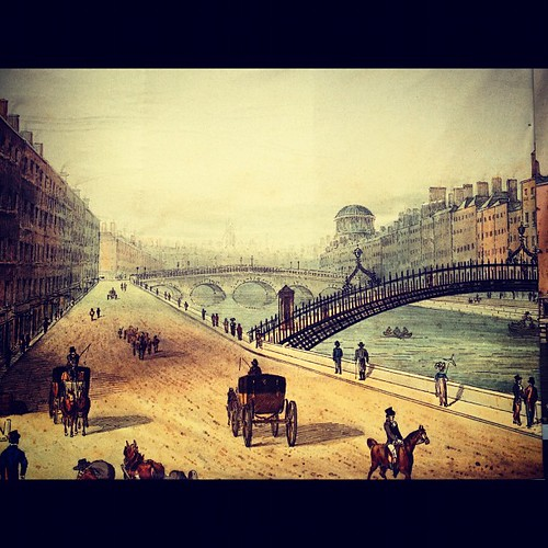 The Halfpenny #bridge in olden times. #dublin This image was placed on some boarding for the #tallships festival. by Gribers