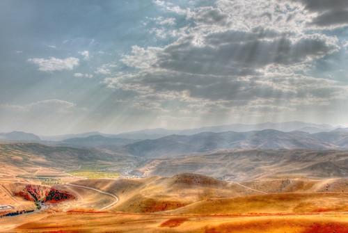 sky sun mountain green clouds landscape iran persia valley sunbeam hdr alborz چم stunningskies بلوط shokrani alborzshokrani yahoo:yourpictures=yourbestphotoof2012