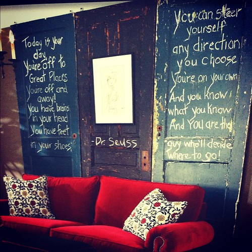 "Love these doors behind the couch. The quote from "" Oh the Places"" is just icing on the cake. #diy"