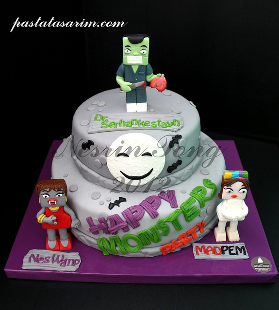 happy monsters party cake
