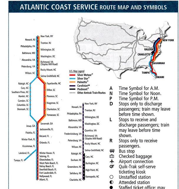 Amtrak Atlantic Coast Service 2012 Map
