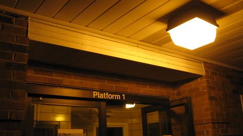 Night time at the Franklin Park Metra commuter rail station.  Franklin Park Illinois.  Wednsday, August 29th, 2012. by Eddie from Chicago