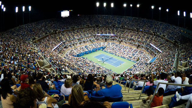 From the cheap seats at Arthur Ashe Stadium with the Pentax Q and 03 Fish Eye lens.