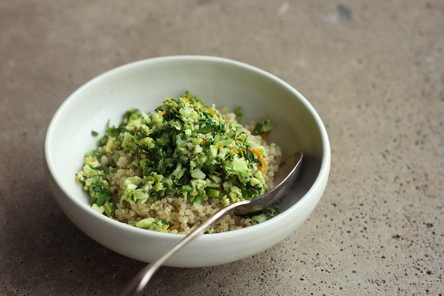 lavender + orange broccoli with quinoa