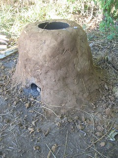 freshly plastered rocket stove