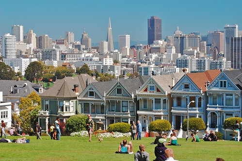 Victorian Painted Ladies front San Francisco skyline | by David McSpadden