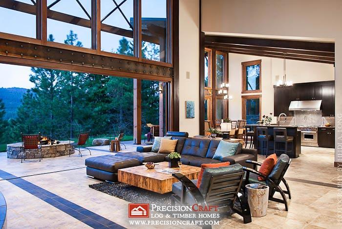 Open floor plan custom timber frame architecutre for Open floor plan log homes
