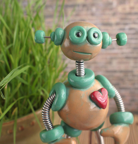 Plix Patina Garden Robot Sculpture  by HerArtSheLoves