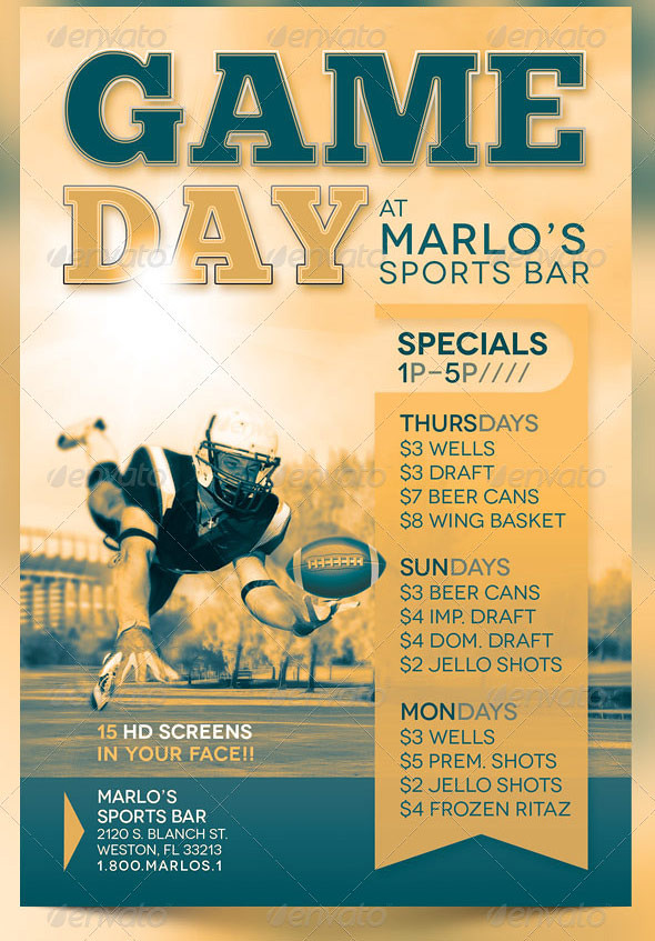 Game Day Sports Bar Flyer Template  A Photo On Flickriver