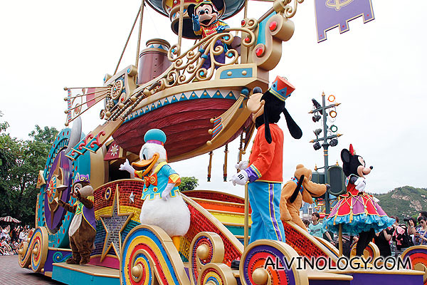 The first car in the parade featuring all the main Disney characters