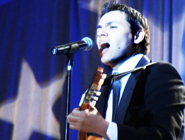Andres Useche sings at Presidential Inaugural Gala