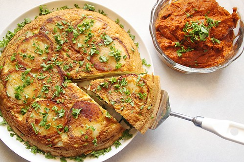 Vegetarian Spanish Potato Tortilla with Romesco Sauce