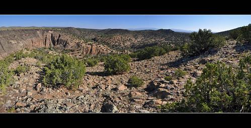 panorama newmexico santafe route66 plateau hills mesa sangredecristomountains santaferiver labajada lacieneguilla cajadelrio pre1932alignment