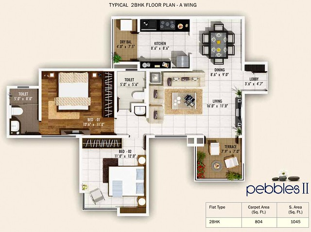 2 BHK Flat 804 Carpet +Terrace in A Wing, Pebbles II by Abhinav Group & Rainbow Housing, 2 BHK & 3 BHK Flats, behind DSK Toyota Showroom, at Bavdhan Budruk, Pune 411021
