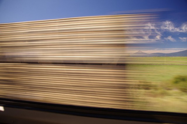 slow exposure Freight Train Carrying Oregon Wood passing Amtrak Coast Starlight train - Emeryville to Seattle